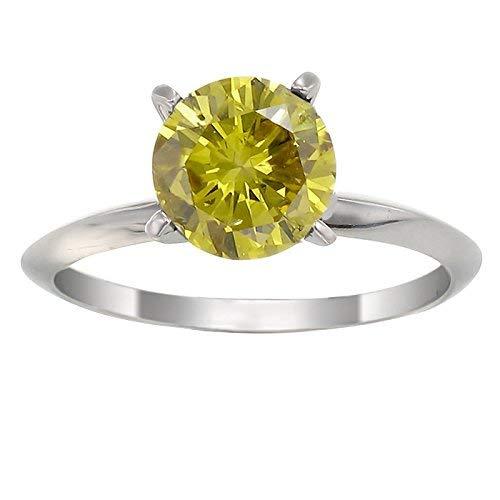 14K White Gold Yellow Diamond Solitaire Ring (1/2 CT)