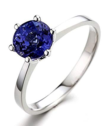 Classic Beautiful 1 Carat Blue Sapphire Solitaire Engagement Ring in White Gold