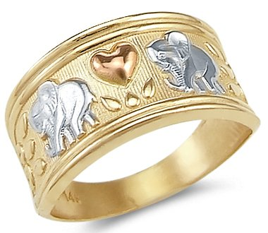 New 14k Yellow Tri-Color Gold Elephant Love Heart Ring