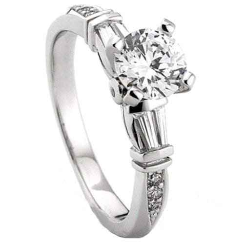 0.33 Carat (Ctw) 14k White Gold Round & Baguette Diamond Ladies Semi Mount Ring Engagement 1/3 CT
