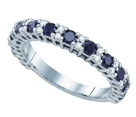 Ladies 10K White Gold 1.09ct Round Cut Black and White Diamond Wedding Engagement Band Ring