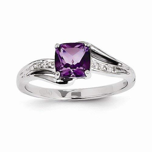Solid 14k White Gold Diamond and Purple Simulated Amethyst Square Engagement Wedding Ring (.01 cttw.) (8mm)
