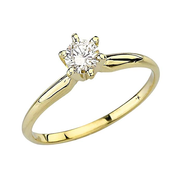 Elegant 14k Yellow Gold Diamond Proposal/Engagement Solitaire Ring