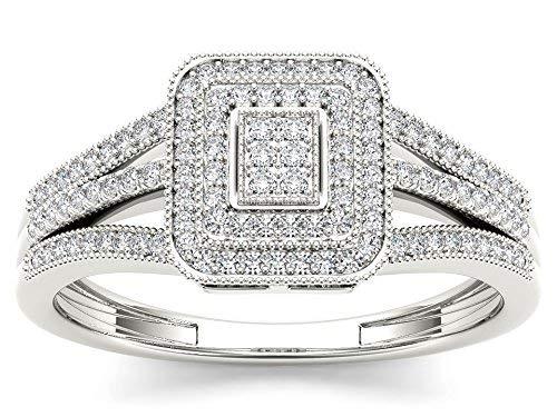 De Couer IGI Certified 10k White Gold 1/6ct TDW Diamond Halo Engagement Ring (I-J, I2)