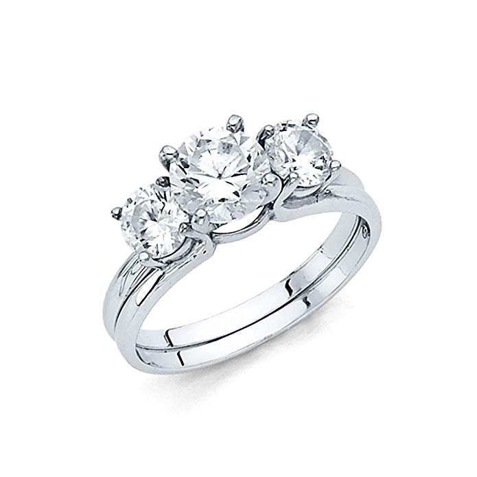 14K Solid White Gold Polished Cubic Zirconia Wedding Engagement Ring with Side Stones
