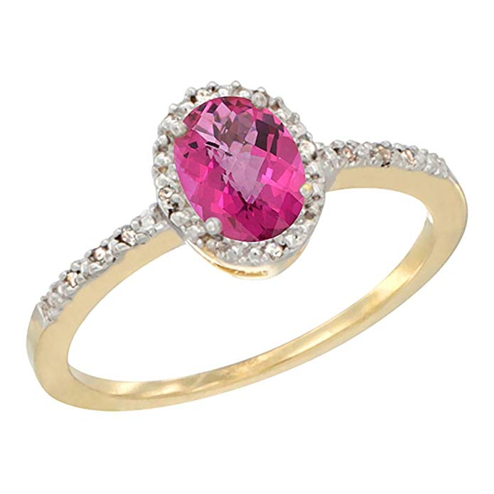 14K White Gold Diamond Natural Pink Topaz Engagement Ring Oval 7x5 mm, sizes 5 - 10