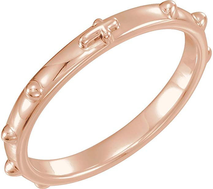 10k Rose Gold 2.50mm Rosary Ring