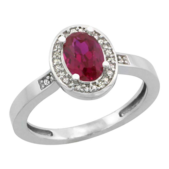 14K White Gold Diamond Enhanced Genuine Ruby Engagement Ring Oval 7x5mm, sizes 5-10