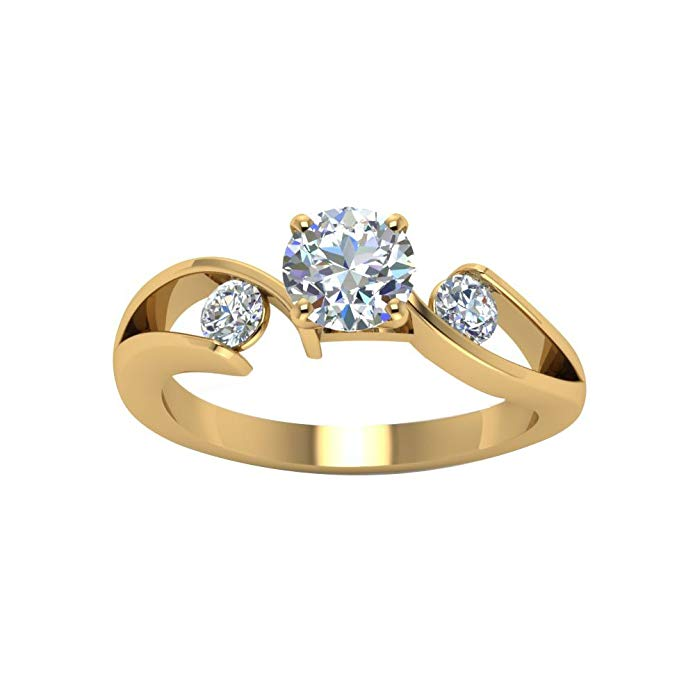 JewelsForum 14K Yellow Gold 3 Stone 1.5 Carat Round Cut Cubic Zirconia Twisted Designer Ring Unique Engagement Ring For Her Anniversary