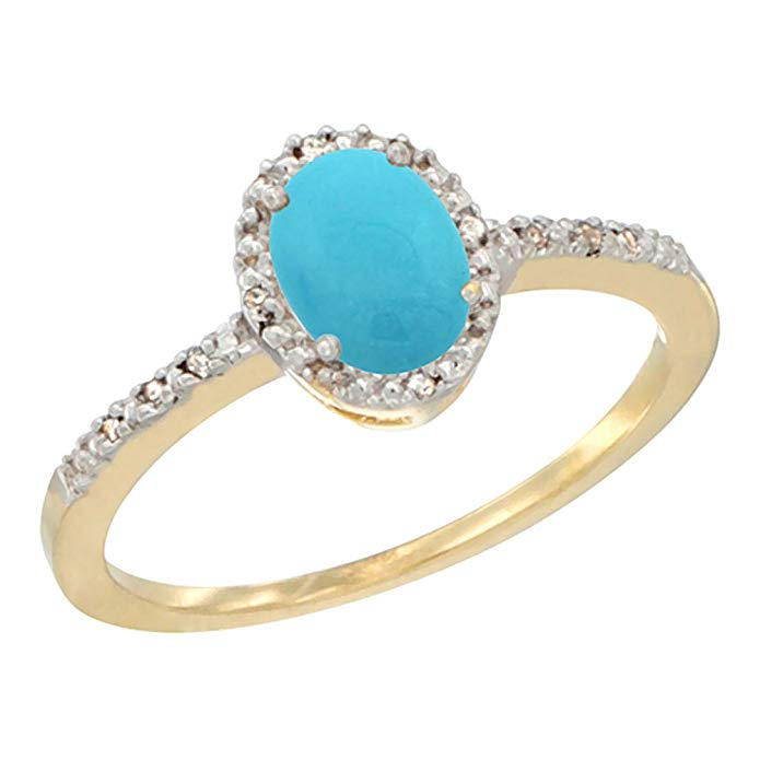 14K White Gold Diamond Natural Turquoise Engagement Ring Oval 7x5 mm, sizes 5 - 10