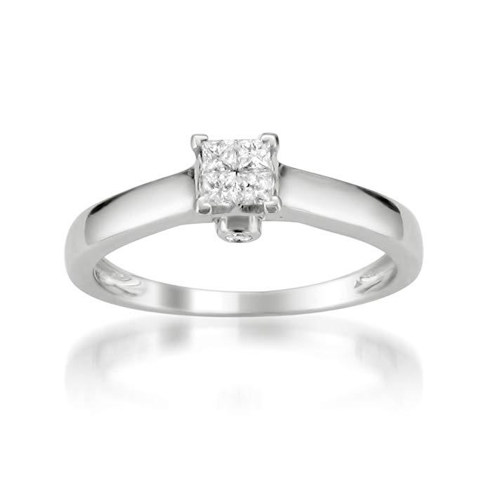 10k White Gold Princess-cut & Round Invisible-Set Diamond Bridal Engagement Ring (1/4 cttw, I-J, I2-I3)