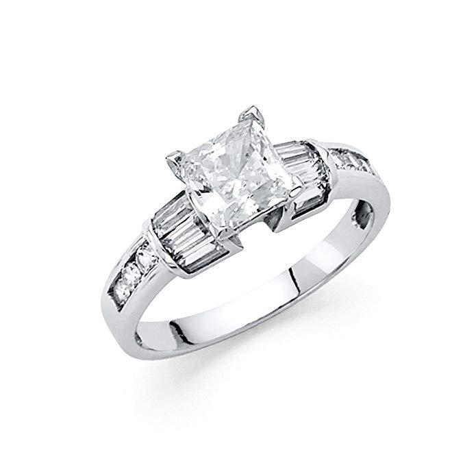 14K White Gold Wedding Engagement Ring