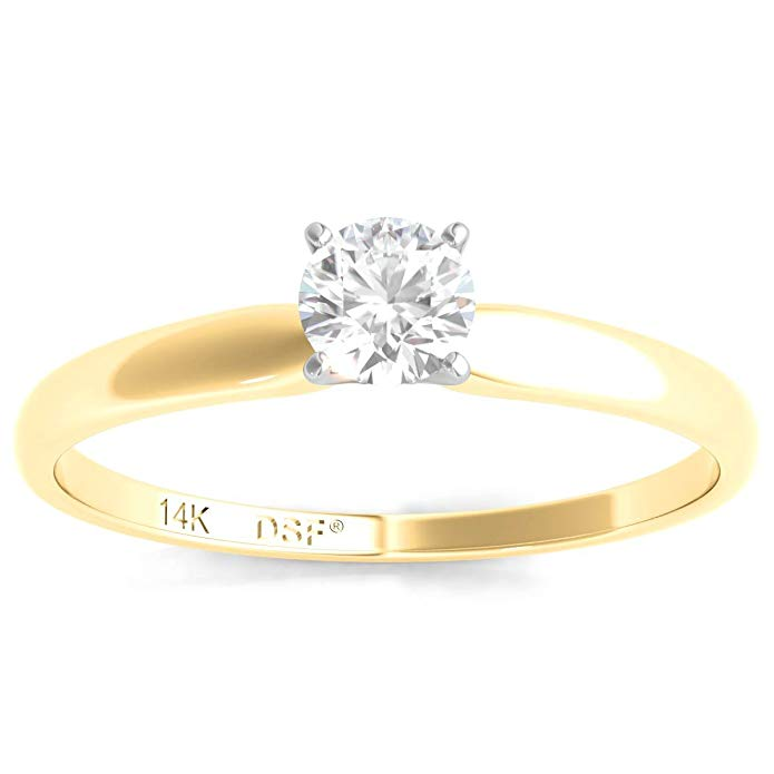 Diamond Studs Forever 14K Yellow Gold Solitaire Engagement Ring (IGI USA Certified, IJ/I3)