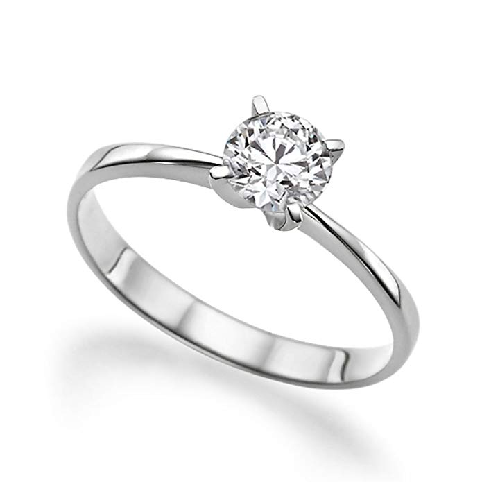 Beautiful 1.00ct Lab Created White Sapphire Engagement Ring 14K Solid Gold