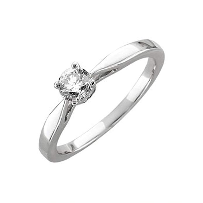 14k White Gold Solitaire Prong Set Diamond Engagement Ring Band (1/3 Carat)