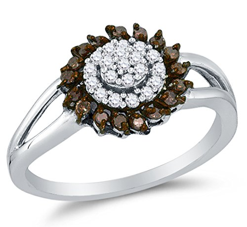 Sonia Jewels 10K White Gold Chocolate Brown & White Round Diamond Halo Circle Engagement Ring - Channel Set Round Center Setting Shape (1/4 cttw.)