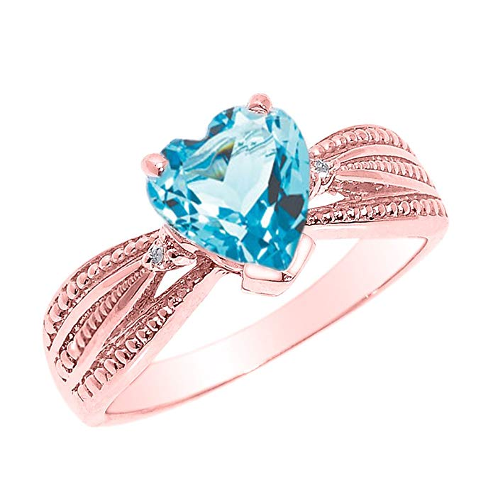 Solid 14k Rose Gold Blue Topaz and Diamond Proposal Ring