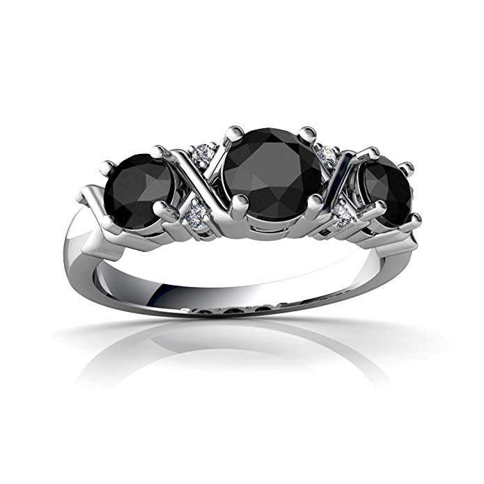 14kt Gold Black Onyx and Diamond 4mm Round Hugs and Kisses Ring