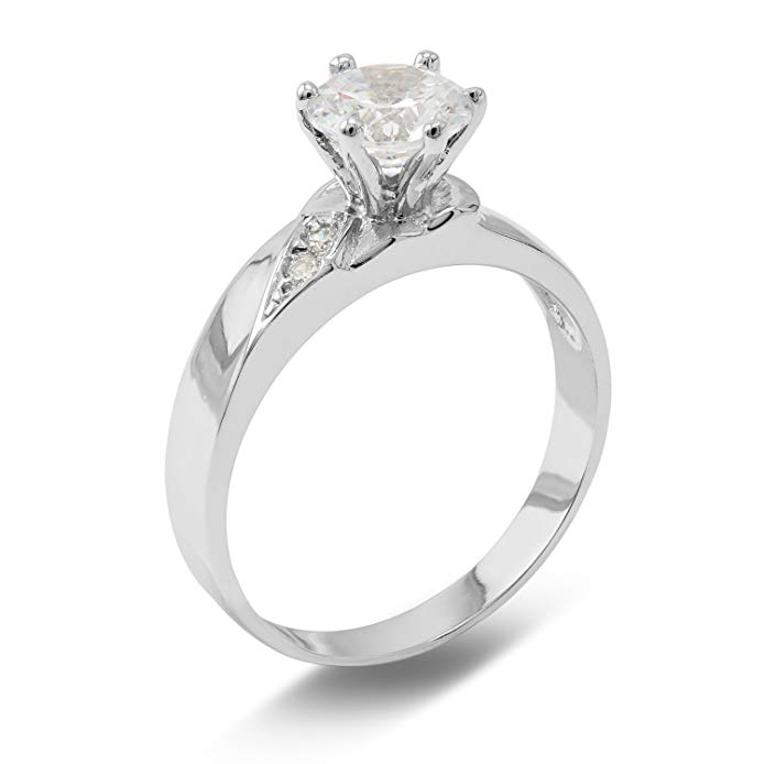 Ioka - 1 Ct. Cubic Zirconia CZ Solitaire Round Cut 4MM Engagement Ring Solid 14K White Gold With Stones on Band