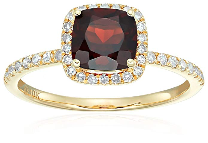 10k Yellow Gold Red Garnet and Diamond Cushion Halo Engagement Ring (1/4cttw, H-I Color, I1-I2 Clarity), Size 7