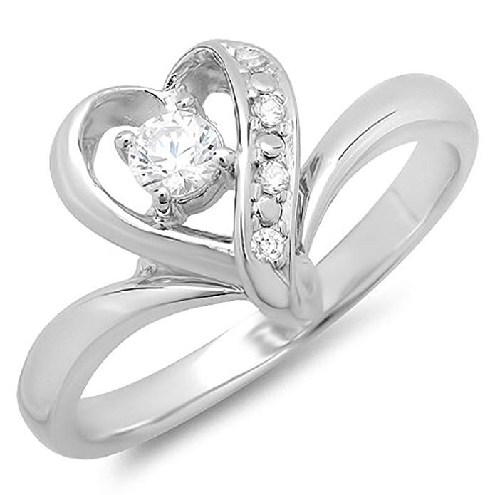 0.30 Carat (ctw) 14K White Gold Round Cubic Zirconia Heart Shaped Promise Bridal Ladies Engagement Ring
