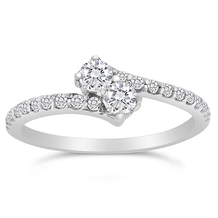1/2ctw Diamond Two Stone Ring in 10k White Gold