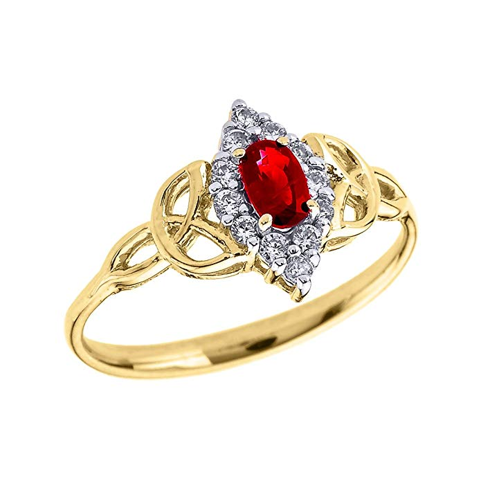 14k Yellow Gold Diamond and Oval Ruby Trinity Knot Proposal Ring