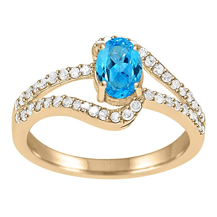 1.35 Ct. Blue Topaz And Diamond Wedding Engagement Ring In 10k Solid Yellow Gold