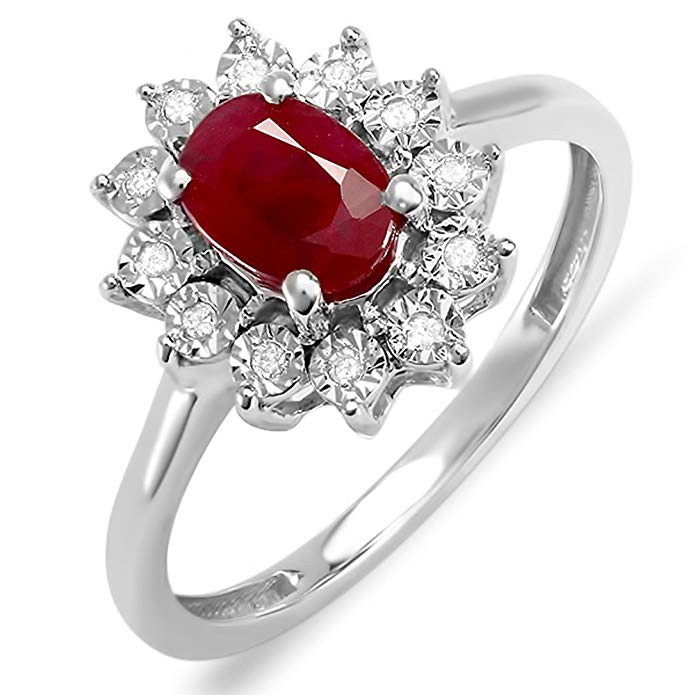 Dazzlingrock Collection Kate Middleton Diana Inspired 10K Gold Diamond & Ruby Engagement Ring 1 1/4 CT