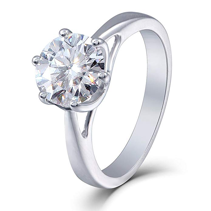 TransGems 10K White Gold 2ct 8MM H Color 2.8MM Width Moissanite Simulated Diamond Engagement Ring for Women