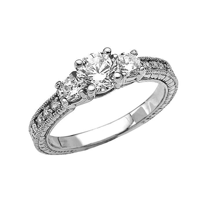 Art Deco Diamond 10k White Gold Engagement and Proposal Ring With 1 Carat White Topaz Centerstones