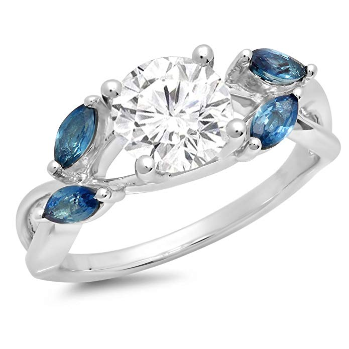 Dazzlingrock Collection 1.40 Carat (Ctw) Sterling Silver White Sapphire & Marquise Blue Sapphire Ladies Bridal Engagement Ring