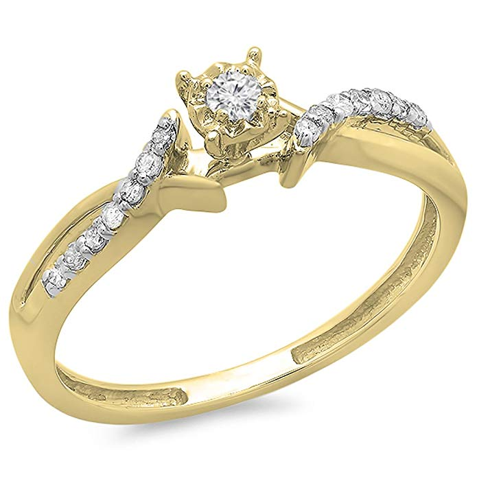 Dazzlingrock Collection 0.15 Carat (ctw) 10K Gold Round Diamond Crossover Split Shank Ladies Bridal Promise Ring 1/6 CT