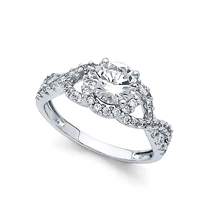 14k Yellow OR White Gold Infinity Halo CZ Engagement Ring Anniversary Infinity CZ Band Bridal Side Stones