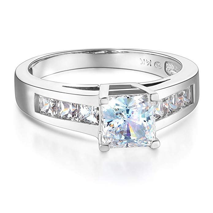 Wellingsale Ladies Solid 14k Yellow -OR- White Gold Polished CZ Cubic Zirconia Princess Cut Engagement Ring with Side Stones