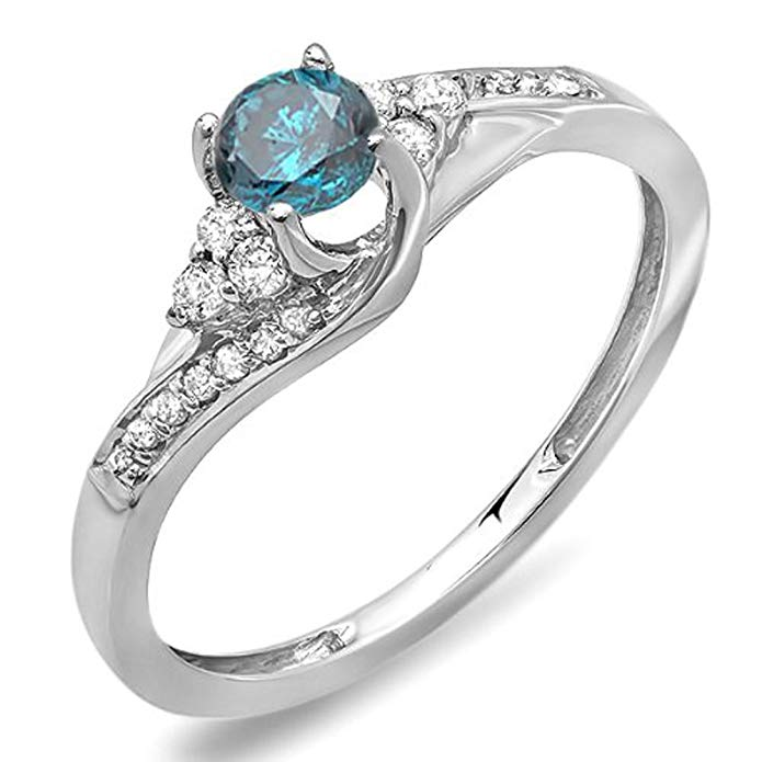 0.38 Carat (ctw) 14k White Gold Round White And Blue Diamond Ladies Swirl Bridal Engagement Ring