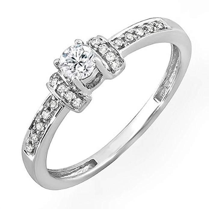 0.25 Carat (ctw) 10k White Gold Round Diamond Ladies Bridal Unique Vintage Style Engagement Ring 1/4 CT
