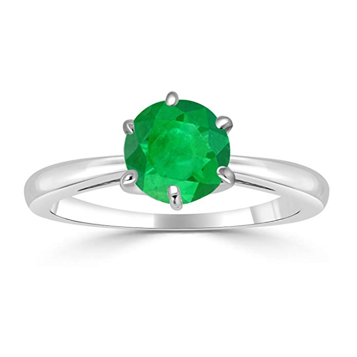 14K White Gold Round-Cut Green Emerald Gemstone Solitaire Engagement Ring 6Prong(1/4-1 cttw)Size 4-9