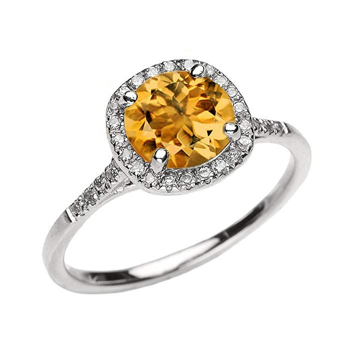 Dainty 10k White Gold Halo Diamond and Citrine Centerstone Engagement Proposal Ring
