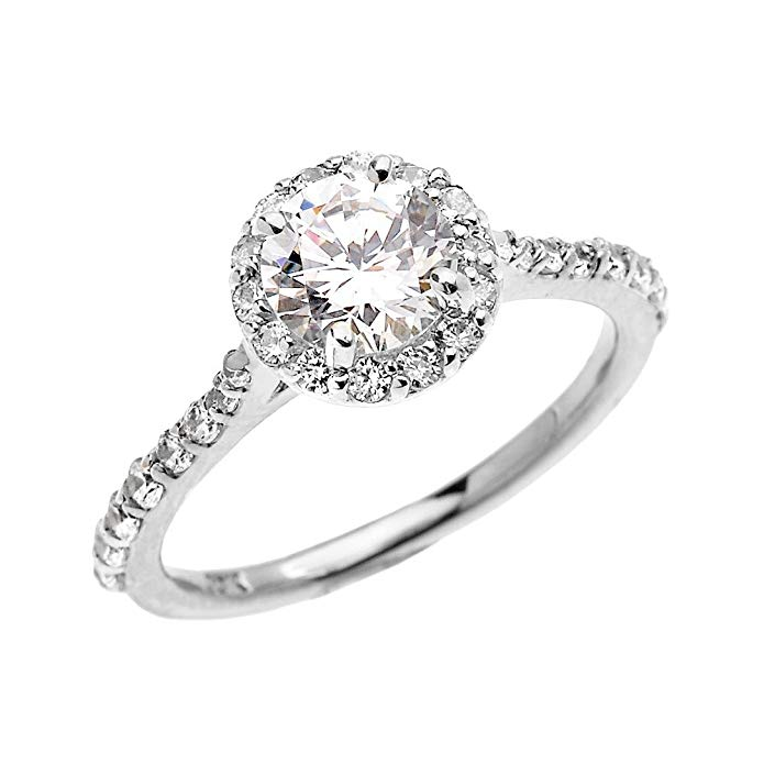 Dainty 14k White Gold 1.5 Carat CZ Solitaire Engagement and Proposal Ring