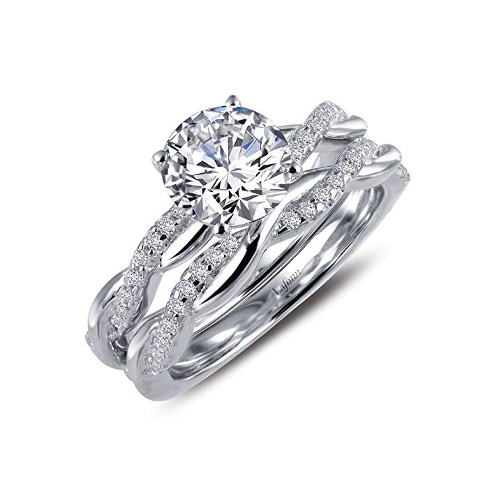 Lafonn Classic Sterling Silver Platinum Plated Lassire Simulated Diamond Ring (1.74 CTTW)