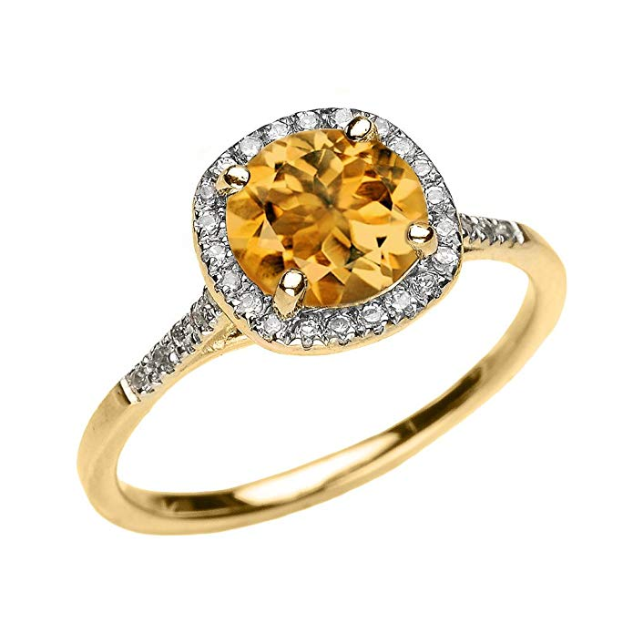 Dainty 10k Yellow Gold Halo Diamond and Citrine Centerstone Engagement Proposal Ring