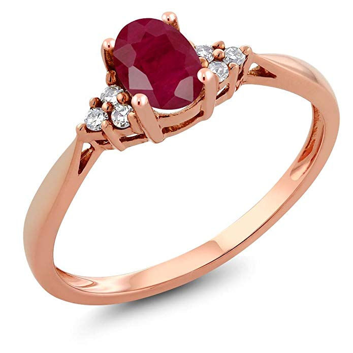 14K Rose Gold Red Ruby and Diamond Women's Ring 0.66 cttw (Available 5,6,7,8,9)