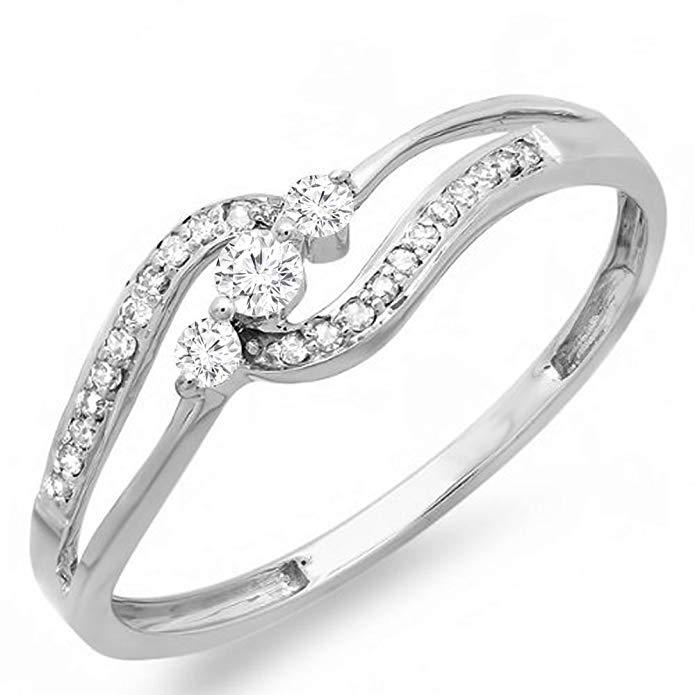 0.20 Carat (ctw) 10k White Gold Round Diamond Ladies 3 stone Engagement Bridal Promise Ring 1/5 CT