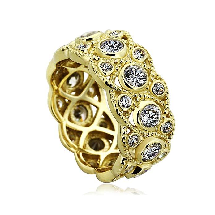 14K Yellow Gold Engagement Ring CZ Round Bezel Set Milgrain Eternity Wedding Band Ring
