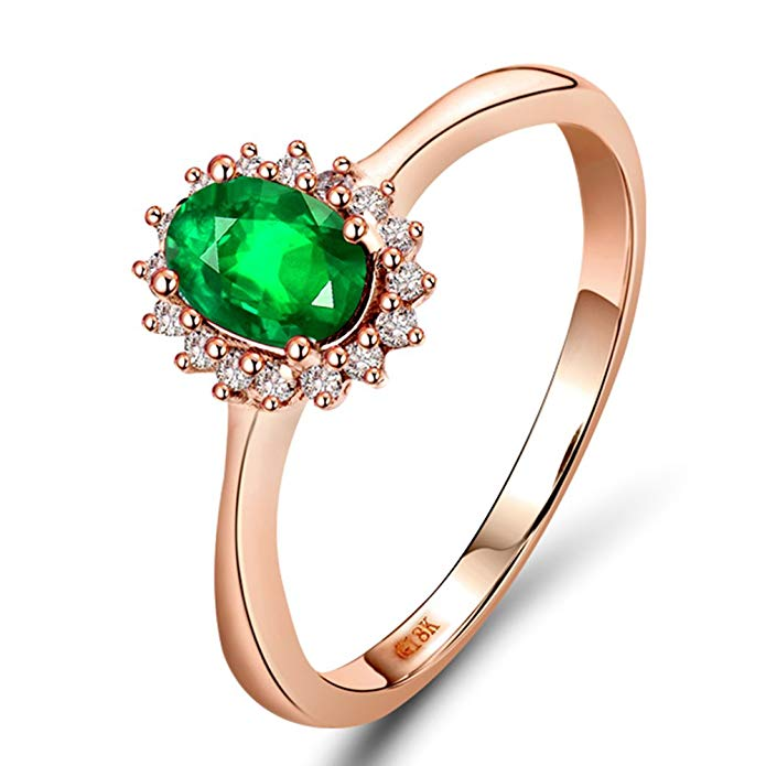 Lanmi Oval 4x6mm Natural Colombian 0.50Ct Emerald Diamond 14K Rose Gold Engagement Ring