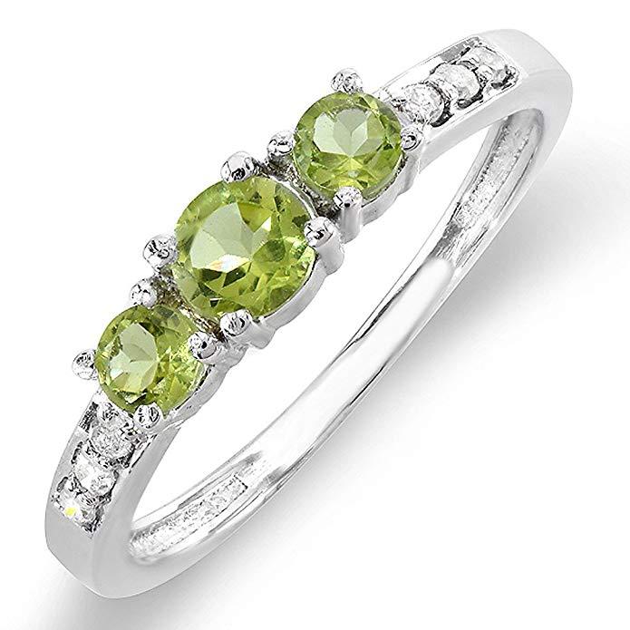 10K White Gold Green Peridot & White Diamond Three Stone Engagement Bridal Ring (Size 8.5)
