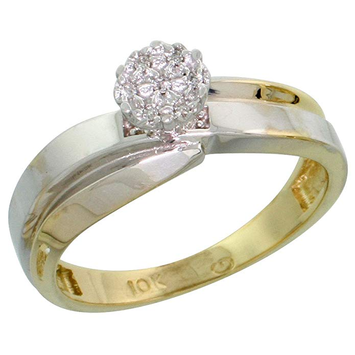 10k Yellow Gold Diamond Engagement Ring Women 0.05 cttw Brilliant Cut 1/4 inch 6mm wide