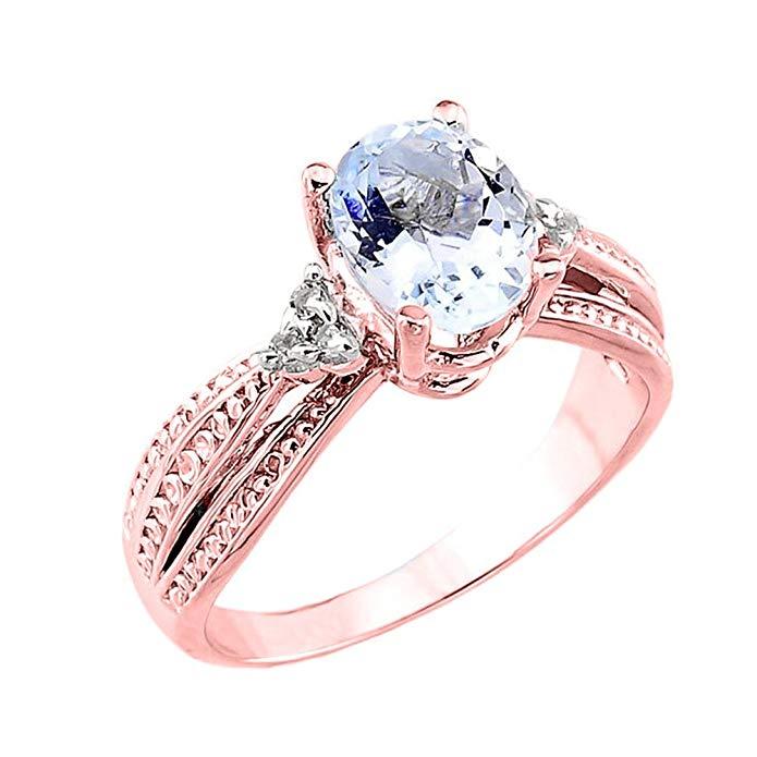 14k Rose Gold Diamond Band Oval Aquamarine Engagement Ring