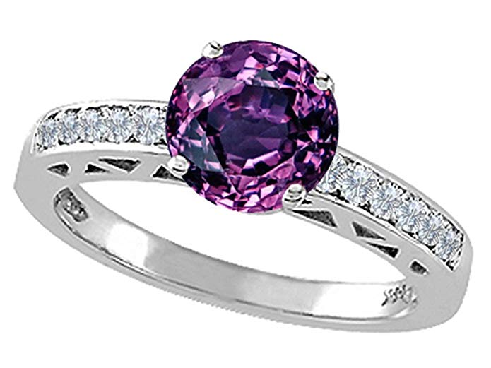 Tommaso Design 14k White Gold with Round 7mm Center Solitaire Engagement Ring